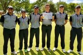 The Big spring golf team, left to right, coach Ariel Falcon, Nolan Dominguez, Zach Bennett, Nolan Otto, Ryan Dimidjian and Jack Everett pose after placing second at the Region I-4A golf tournament last month at Lubbock's Shadow Hills Golf Course. Courtesy photo