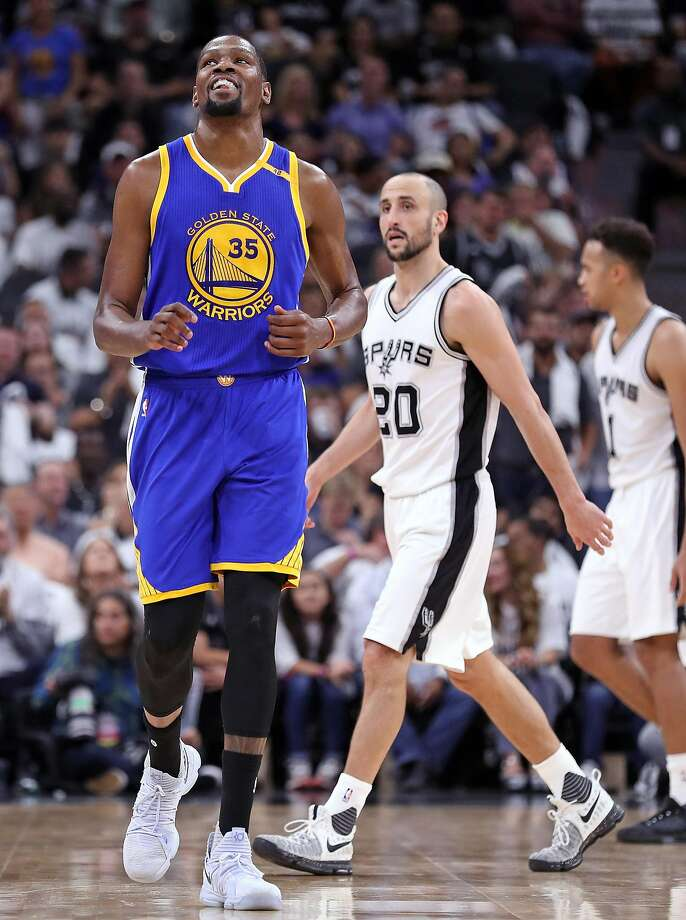 Golden State Warriors' Kevin Durant reacts in 2nd quarter against San Antonio Spurs' Manu Ginobili during Game 3 of NBA Western Conference Finals at AT&T Center in San Antonio, Texas, on Saturday, May 20, 2017. Photo: Scott Strazzante, The Chronicle