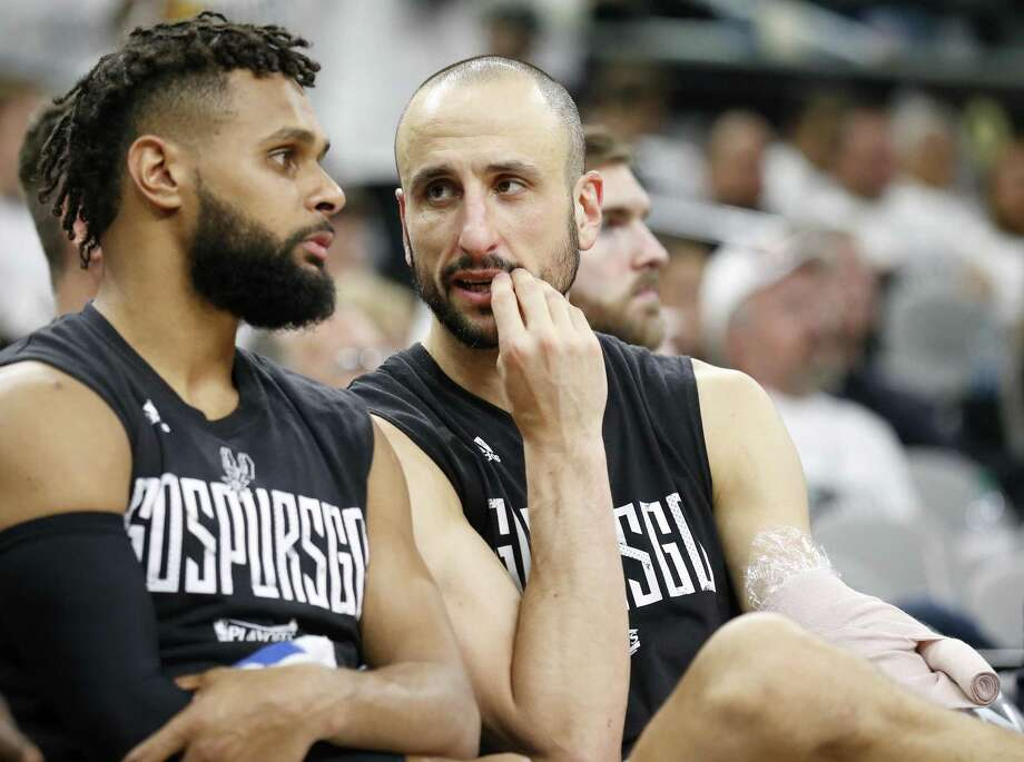 San Antonio Spurs' Patty Mills and Manu Ginobili talk on the bench late in Game 3 of the Western Conference Finals against the Golden State Warriors held Saturday May 20, 2017 at the AT&T Center. The Warriors won 120-108. Photo: Edward A. Ornelas, Staff / San Antonio Express-News / © 2017 San Antonio Express-News