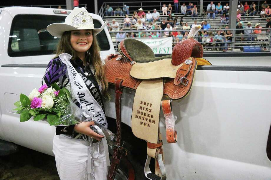 The 2017 Miss Rodeo Dayton FFA Queen, Taylar Schneiter, received a crown, custom saddle, Benchmark buckle, and a custom Miss Rodeo Dayton FFA banner. Photo: David Taylor