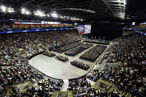 A packed Webster Bank Arena held the graduation ceremony of Western Connecticut State University on Sunday, May 21, 2017 in Bridgeport, Conn.