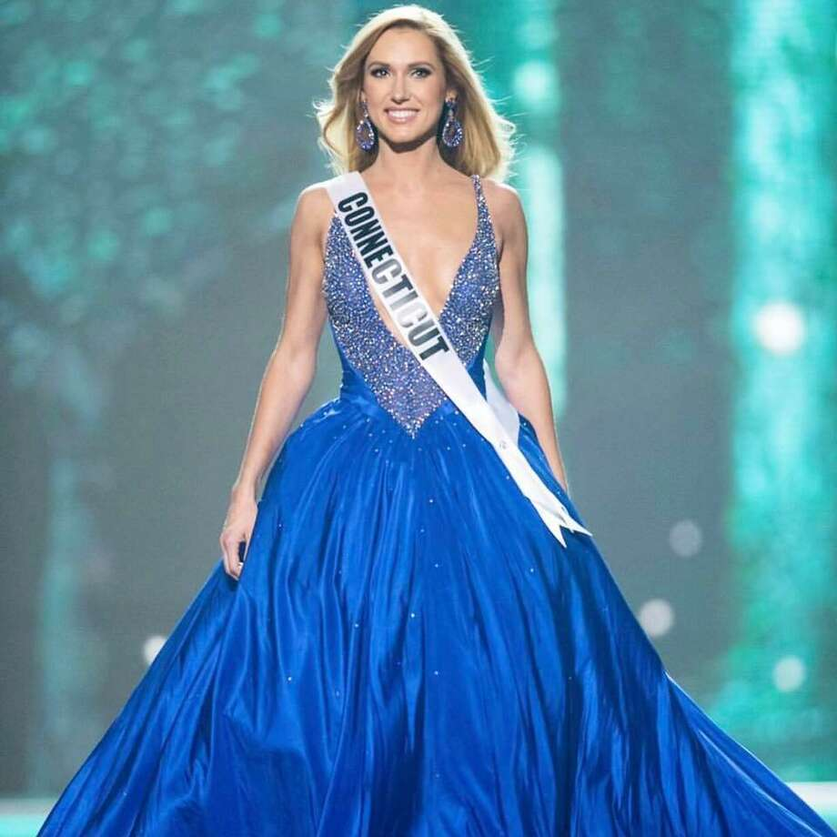 Olga Litvinenko, Miss Connecticut USA, competes on stage in her evening gown during the MISS USA Preliminary Competition at Mandalay Bay Convention Center on May 11, 2017 in Las Vegas. Photo: Contributed Photo