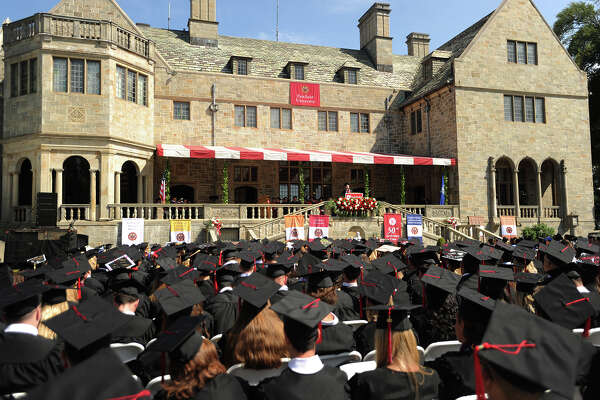 Fairfield University's Commencement exercises are held on the lawn behind Bellarmine Hall on the campus in Fairfield, Conn. on Sunday, May 21, 2017.