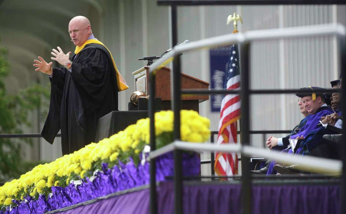Scott Kelly, NASA astronaut and Captain, U.S. Navy (Ret.), delivers the commencement address at the University at Albany undergraduate commencement ceremony on Sunday, May 21, 2017.