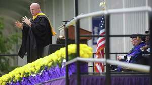 Scott Kelly, NASA astronaut and Captain, U.S. Navy (Ret.), delivers the commencement address at the University at Albany undergraduate commencement ceremony on Sunday, May 21, 2017, in Albany, N.Y.   (Paul Buckowski / Times Union)