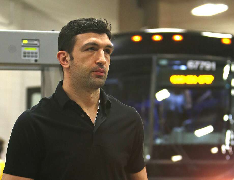 Golden State Warriors center Zaza Pachulia (27) arrives at the AT&T center for Game 3 of the NBA basketball Western Conference finals against the San Antonio Spurs, Saturday, May 20, 2017, in San Antonio. (AP Photo/Ronald Cortes) Photo: Ronald Cortes, Associated Press