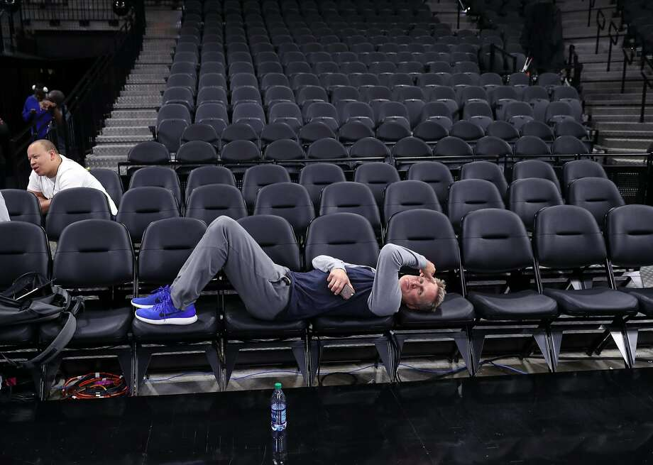 Golden State Warriors' head coach Steve Kerr rests after practice during NBA Western Conference Finals at AT&T Center in San Antonio, Texas, on Sunday, May 21, 2017. Photo: Scott Strazzante, The Chronicle