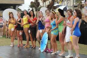 Contestants line up for the Galveston Island Beach Revue Bathing Beauties Contest at the Hotel Galvez and Spa in Galveston, Texas, on Saturday, May 20, 2017. Contestants donned vintage swimwear for the event which official signals the start of summer on the island.