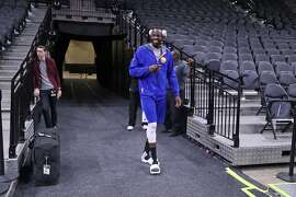 Golden State Warriors' Draymond Green after practice during NBA Western Conference Finals at AT&T Center in San Antonio, Texas, on Sunday, May 21, 2017.
