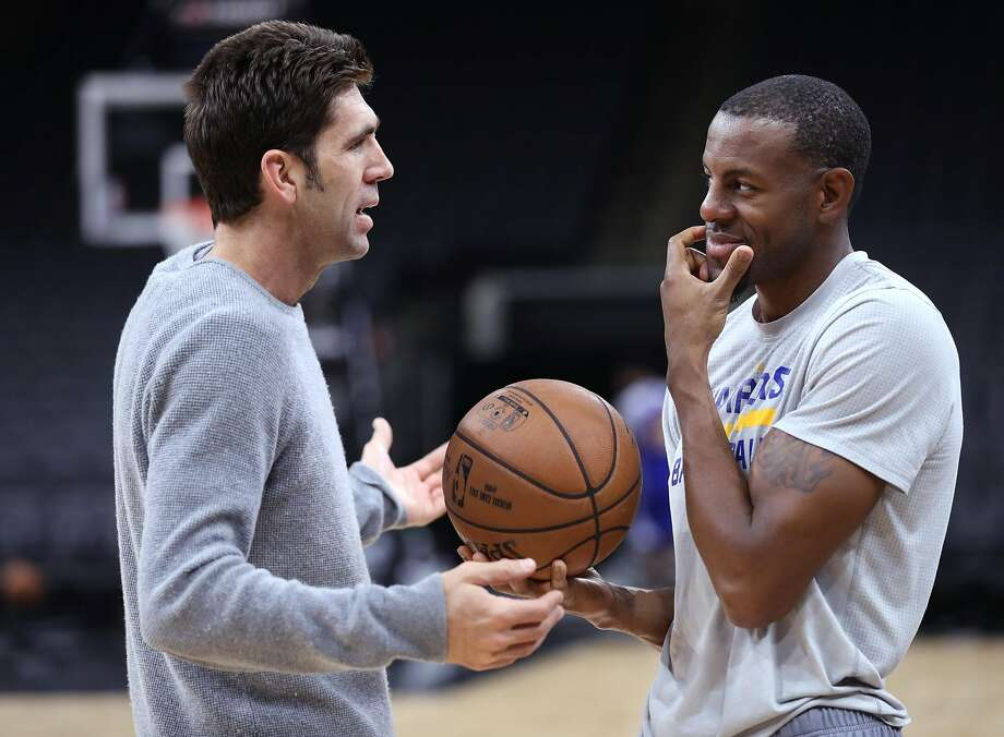Golden State Warriors' Bob Myers chats with Andre Iguodala after practice during NBA Western Conference Finals at AT&T Center in San Antonio, Texas, on Sunday, May 21, 2017. Photo: Scott Strazzante, The Chronicle