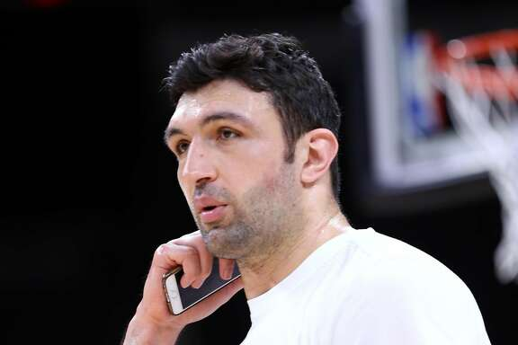 Golden State Warriors' Zaza Pachulia after practice during NBA Western Conference Finals at AT&T Center in San Antonio, Texas, on Sunday, May 21, 2017.