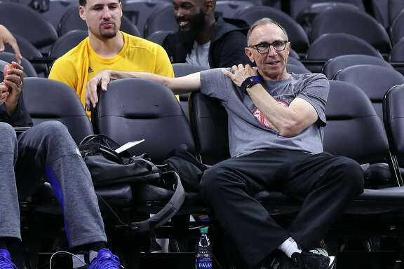 Golden State Warriors' assistant coach Ron Adams and Klay Thompson after practice during NBA Western Conference Finals at AT&T Center in San Antonio, Texas, on Sunday, May 21, 2017.