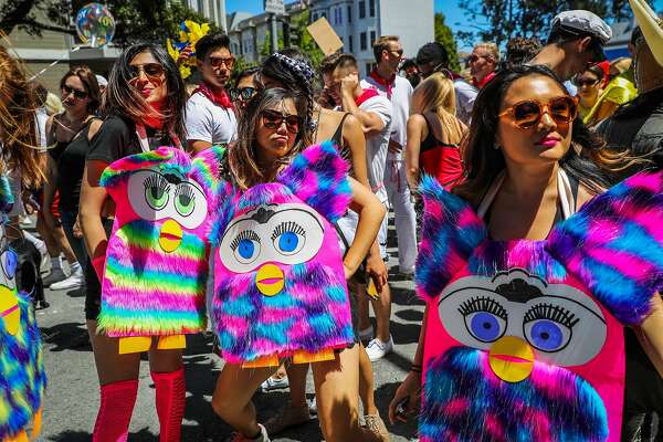 People in costume hang out on Fell Street as they participate in the Bay to Breakers annual race in San Francisco, California, on Sunday, May 21,2017.