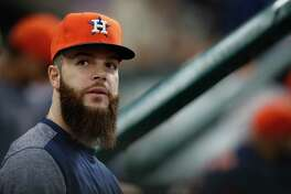 Houston Astros starting pitcher Dallas Keuchel (60) during the eighth inning of an MLB baseball game at Minute Maid Park, Sunday, May 21, 2017.