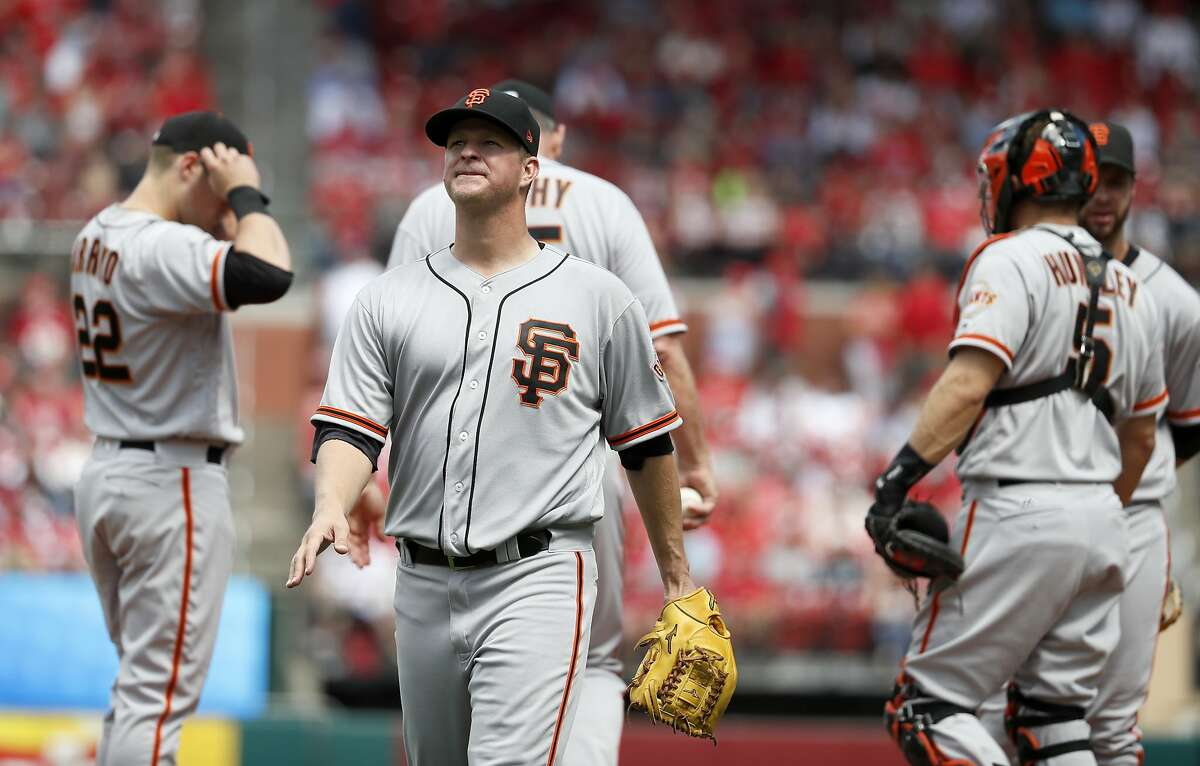 San Francisco Giants starting pitcher Matt Cain walks off the field after being removed during the sixth inning of a baseball game against the St. Louis Cardinals, Sunday, May 21, 2017, in St. Louis. (AP Photo/Jeff Roberson)