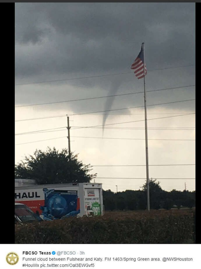 The Fort Bend County Sheriff's Office reported a funnel cloud between Fulshear and Katy on Sunday, May 21, 2017. The Sheriff's Office said the area suffered some light damage, but no injuries as a storm blew through.