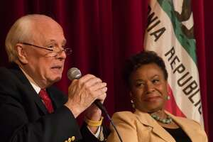 John Dean, of Watergate fame, with Congresswoman Barbara Lee at a town hall meeting on Sunday, May 21, 2017 in Berkeley, CA