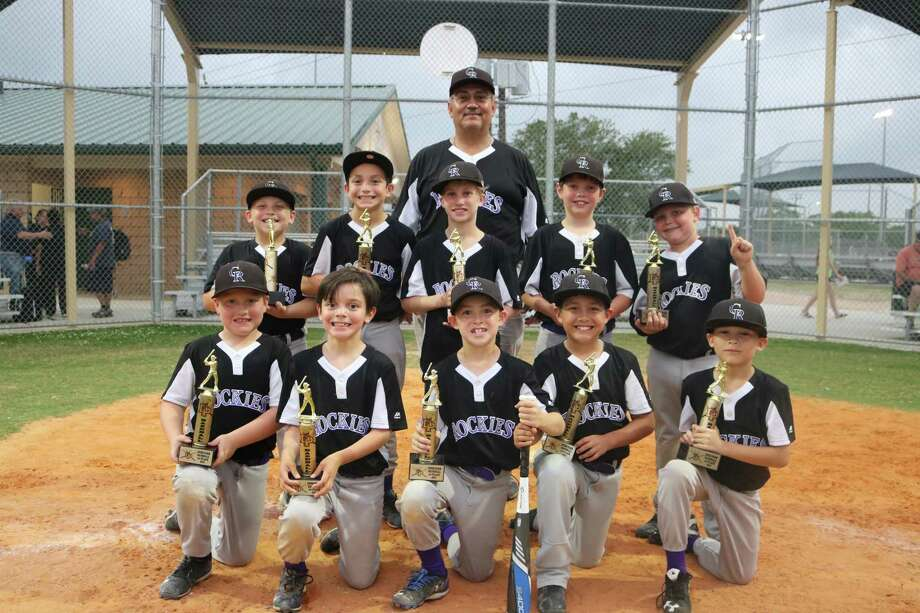 Members of the Deer Park Rockies 8-and-under baseball team pose for their championship team picture after downing the Red Sox for the crown last Wednesday night. Photo: Robert Avery