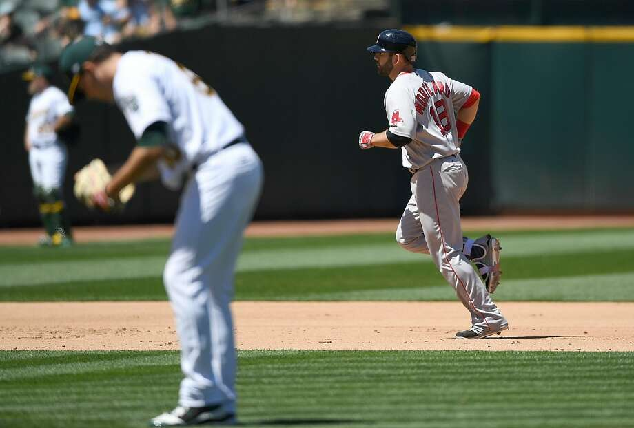 OAKLAND, CA - MAY 21:  Mitch Moreland #18 of the Boston Red Sox trots around the bases after hitting a two-run homer off of Andrew Triggs #60 of the Oakland Athletics in the top of the six inning at Oakland Alameda Coliseum on May 21, 2017 in Oakland, California.  (Photo by Thearon W. Henderson/Getty Images) Photo: Thearon W. Henderson, Getty Images