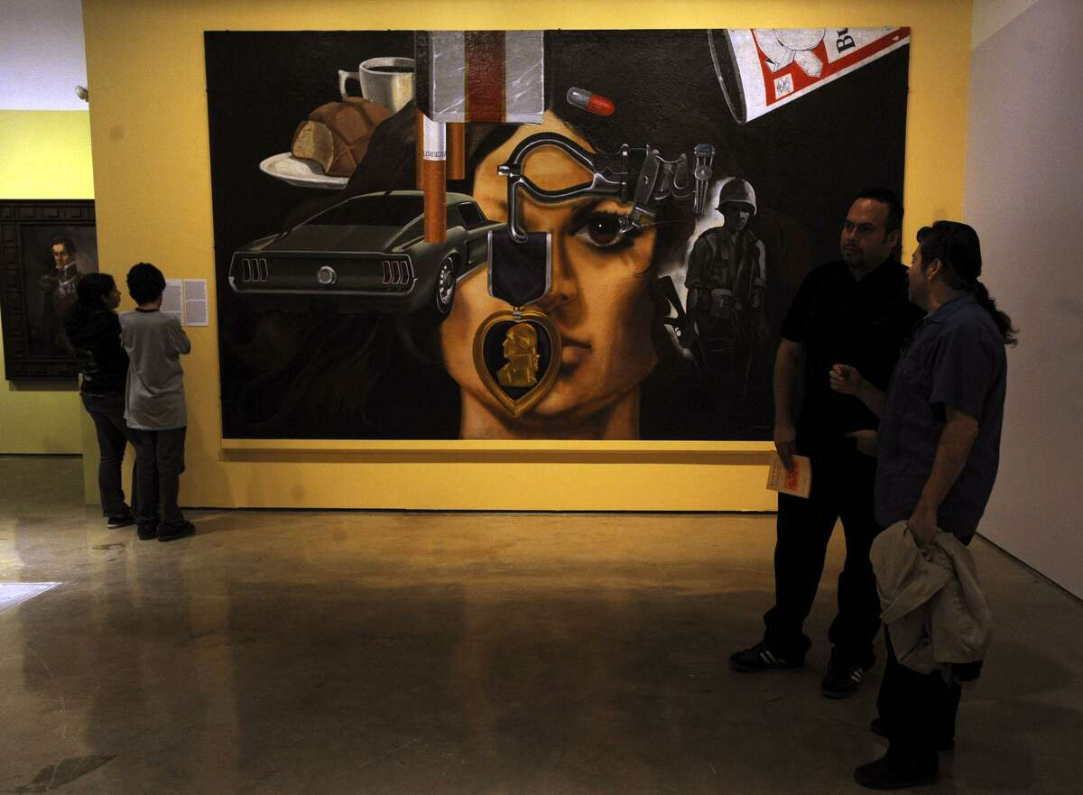 """The painting called """"Mi Vida"""" lends its name to the art exhibit """"Jesse Trevino: Mi Vida"""" at the Museo Alameda on Thursday, Oct. 22, 2009. Trevino is best known for his photorealist paintings of the West Side. BILLY CALZADA / gcalzada@express-news.net"""