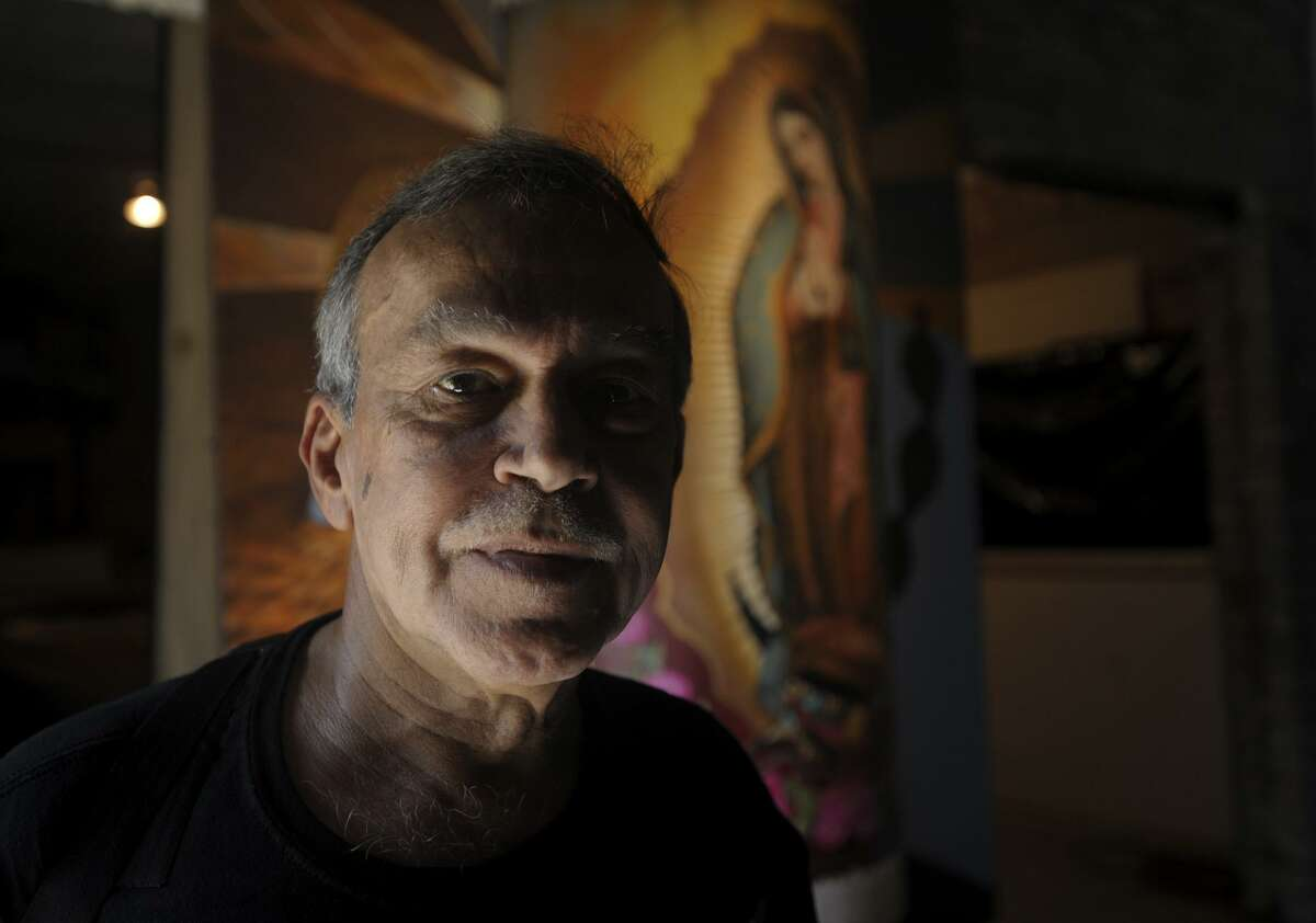 """San Antonio artist Jesse Treviño, a Vietnam War veteran, painted """"Mi Vida"""" on Sheetrock more than 40 years ago at the house where he lived on Mistletoe Avenue. It will be shown as part of a San Antonio timeline during the city's tricentennial celebration."""