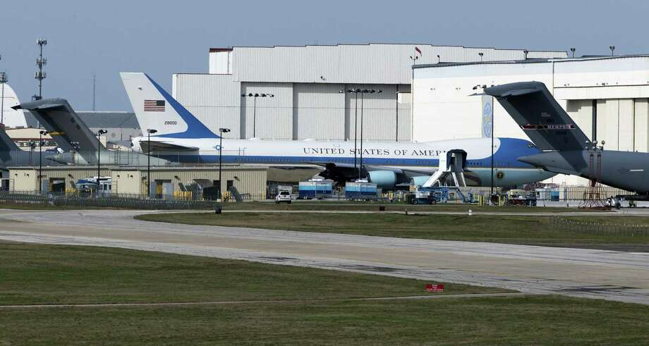 Air Force One sits at Boeing's maintenance facility at Port San Antonio in February. The same plane was involved in an April 2016 incident where three mechanics contaminated the plane's oxygen system, causing $4 million worth of damage. Photo: William Luther /San Antonio Express-News / © 2017 San Antonio Express-News