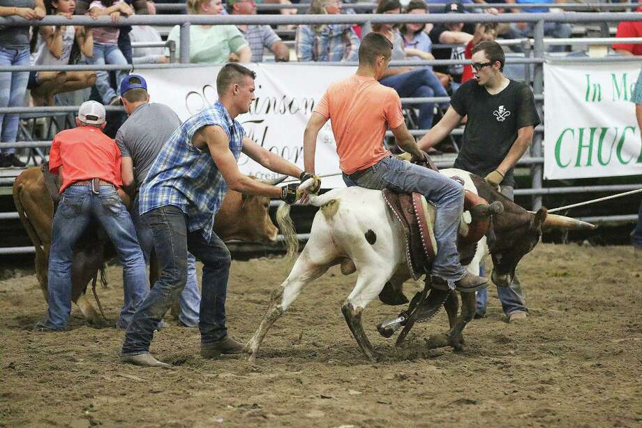 Jayson Moffett and Jackson Welder struggled in the steer saddling competition at the Dayton FFA Rodeo last Saturday night, but did better than most of their competition. Photo: David Taylor
