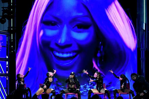 Nicki Minaj, center, performs at the Billboard Music Awards at the T-Mobile Arena on Sunday, May 21, 2017, in Las Vegas. (Photo by Chris Pizzello/Invision/AP)