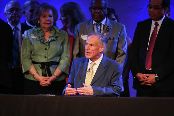 Gov. Greg Abbott speaks before ceremonially signing Senate Bill 24 during the service on Sunday, May 21, 2017, at Woodlands Grace Church in The Woodlands. Texas Senate Bill 24 blocks religious sermons from being subpoenaed by governmental entities.