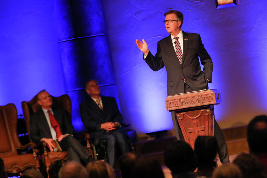 Lt. Gov. Dan Patrick speaks during the service on Sunday, May 21, 2017, at Woodlands Grace Church in The Woodlands. Photo: Michael Minasi, Staff / © 2017 Houston Chronicle