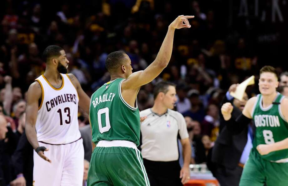 CLEVELAND, OH - MAY 21:  Avery Bradley #0 of the Boston Celtics celebrates after shooting the winning basket in their 111 to 108 win over the Cleveland Cavaliers during Game Three of the 2017 NBA Eastern Conference Finals at Quicken Loans Arena on May 21, 2017 in Cleveland, Ohio. NOTE TO USER: User expressly acknowledges and agrees that, by downloading and or using this photograph, User is consenting to the terms and conditions of the Getty Images License Agreement.  (Photo by Jason Miller/Getty Images) Photo: Jason Miller/Getty Images