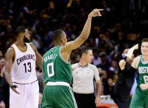 CLEVELAND, OH - MAY 21:  Avery Bradley #0 of the Boston Celtics celebrates after shooting the winning basket in their 111 to 108 win over the Cleveland Cavaliers during Game Three of the 2017 NBA Eastern Conference Finals at Quicken Loans Arena on May 21, 2017 in Cleveland, Ohio. NOTE TO USER: User expressly acknowledges and agrees that, by downloading and or using this photograph, User is consenting to the terms and conditions of the Getty Images License Agreement.  (Photo by Jason Miller/Getty Images)