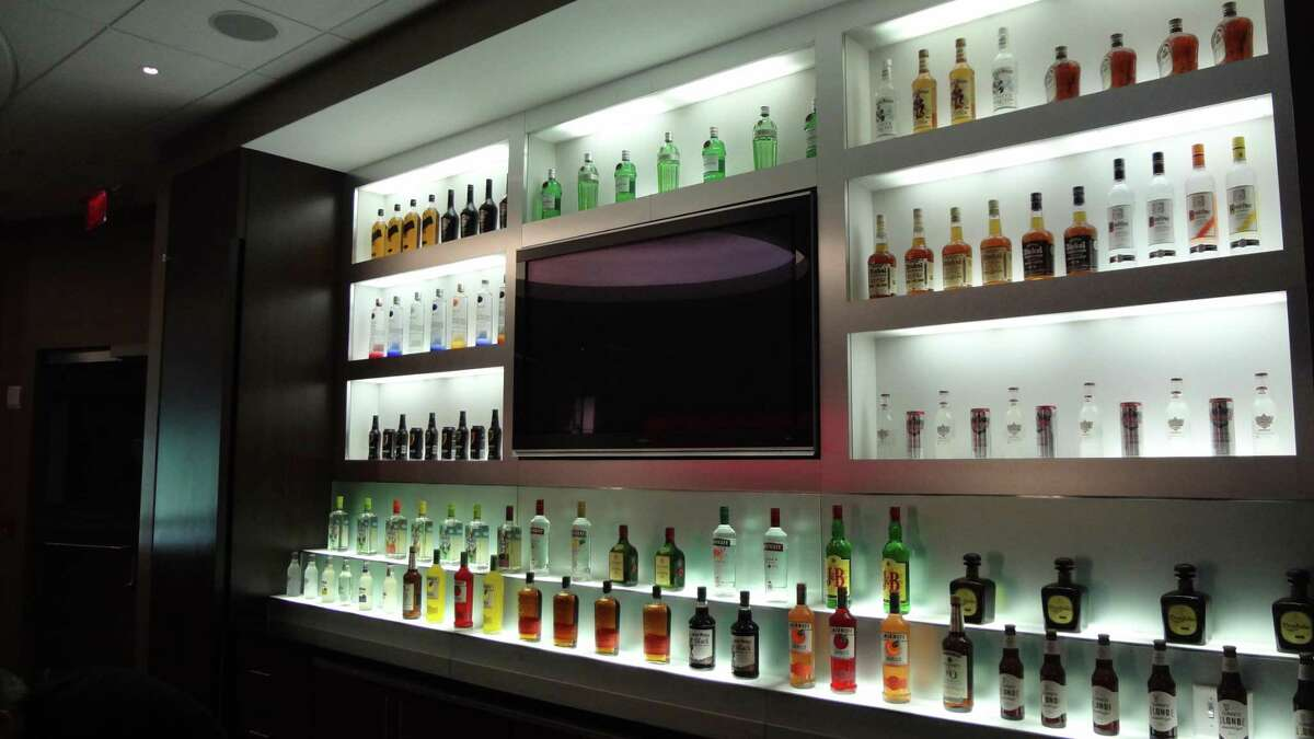 Diageo liquors on display in August 2016 at the company's North American headquarters in Norwalk, Conn.