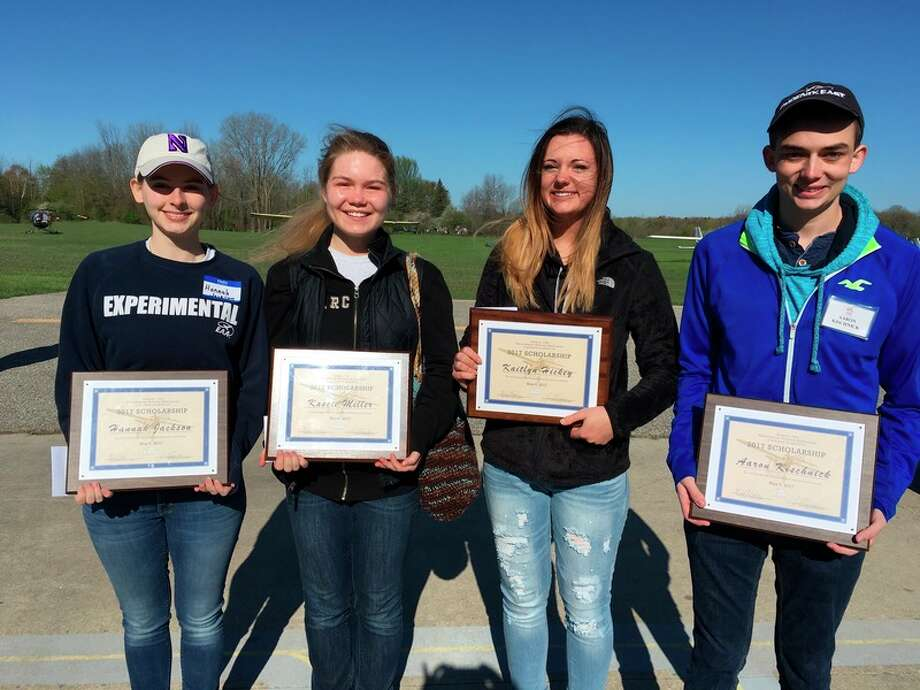 The 2017 Experimental Aircraft Association Chapter 1093's aviation scholarship winners, from left, are Hannah Jackson, Kassie Miller, Kaitlyn Hickey and Aaron Kischnick.