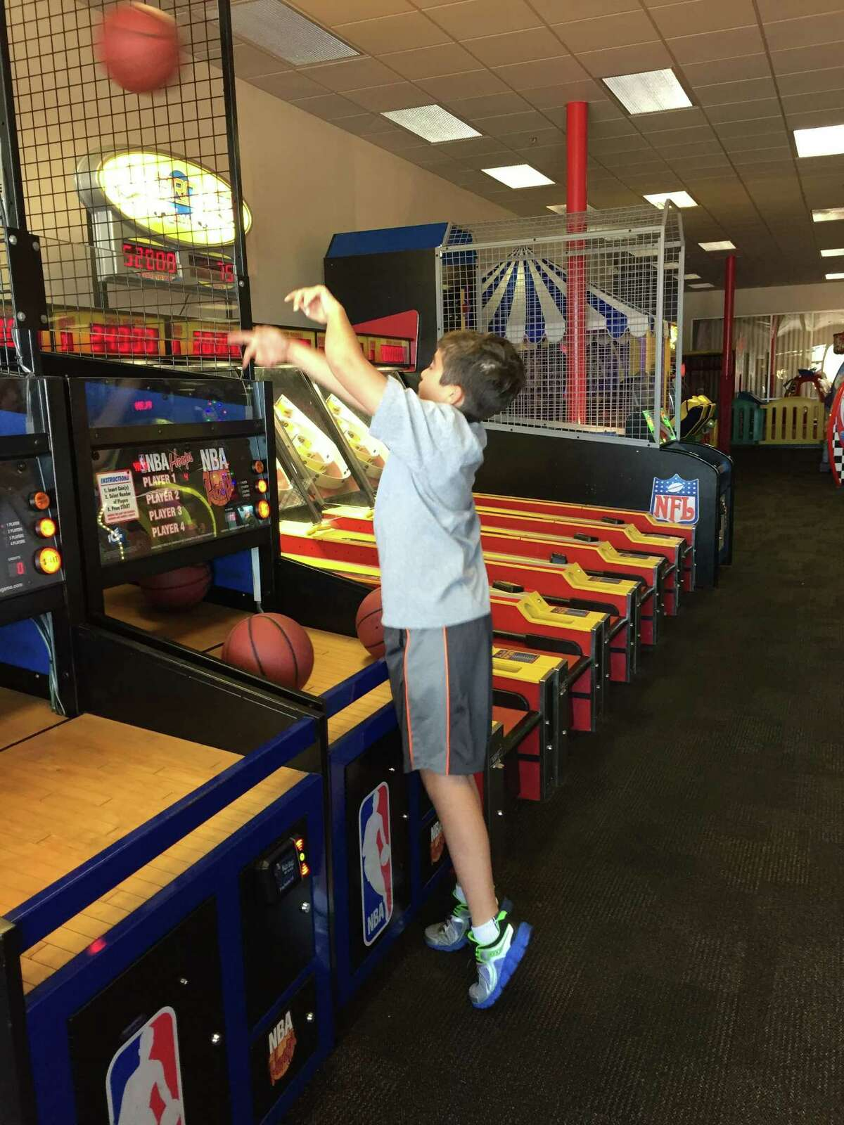 Danny, who lives in Memorial, shoots hoops at Chuck E. Cheese's Westheimer location.