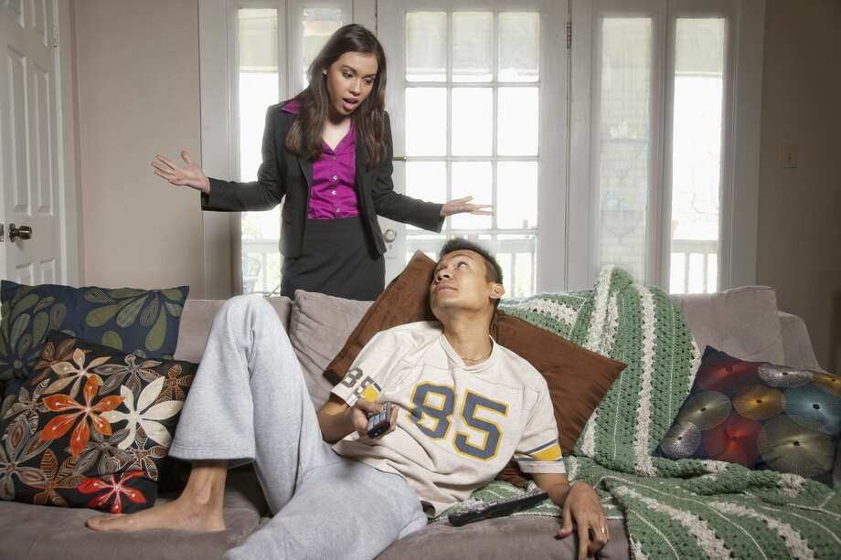 A woman is tired with her boyfriend always being over. Photo: DreamPictures/Getty Images/Blend Images