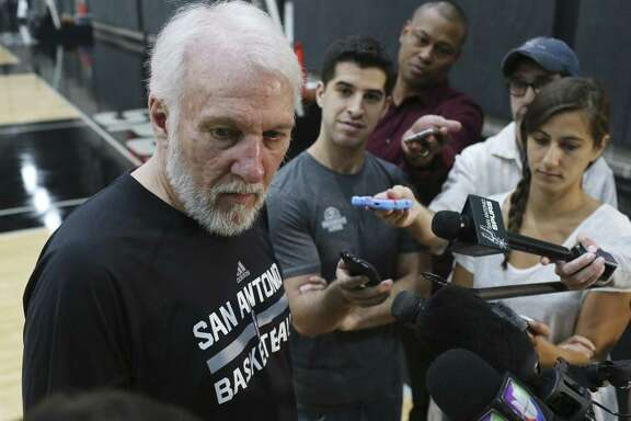 Spurs head coach Gregg Popovich listens to a question during a media conference at their practice facilities on May 21, 2017.