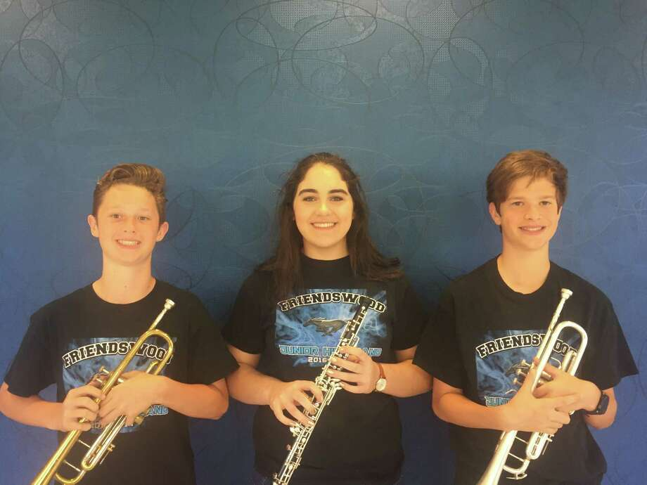 Friendswood Junior High School students Tanner Hill, left, Lauren Patton and Connor Thurman will perform in June at Carnegie Hall in New York City.