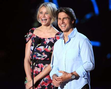 UNIVERSAL CITY, CA - JUNE 06:  Cameron Diaz (L) and Tom Cruise speak onstage at the 2010 MTV Movie Awards held at the Gibson Amphitheatre at Universal Studios  on June 6, 2010 in Universal City, California.  (Photo by Christopher Polk/Getty Images) *** Local Caption *** Cameron Diaz;Tom Cruise Photo: Christopher Polk, Getty Images / 2010 Getty Images