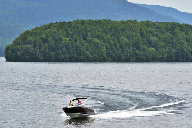 A speed boat on Lake George at Bolton Landing,NY, Thursday June 27, 2013.   (John Carl D'Annibale / Times Union)