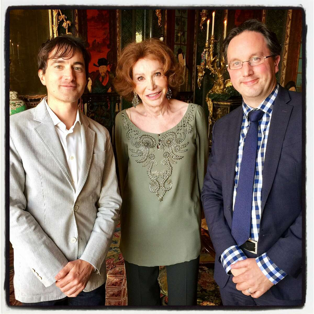 Composer Mason Bates (left) with Ann Getty and SF Opera General Director Matthew Shilvock at a listening party hosted by the Getty's. May 18, 2017.