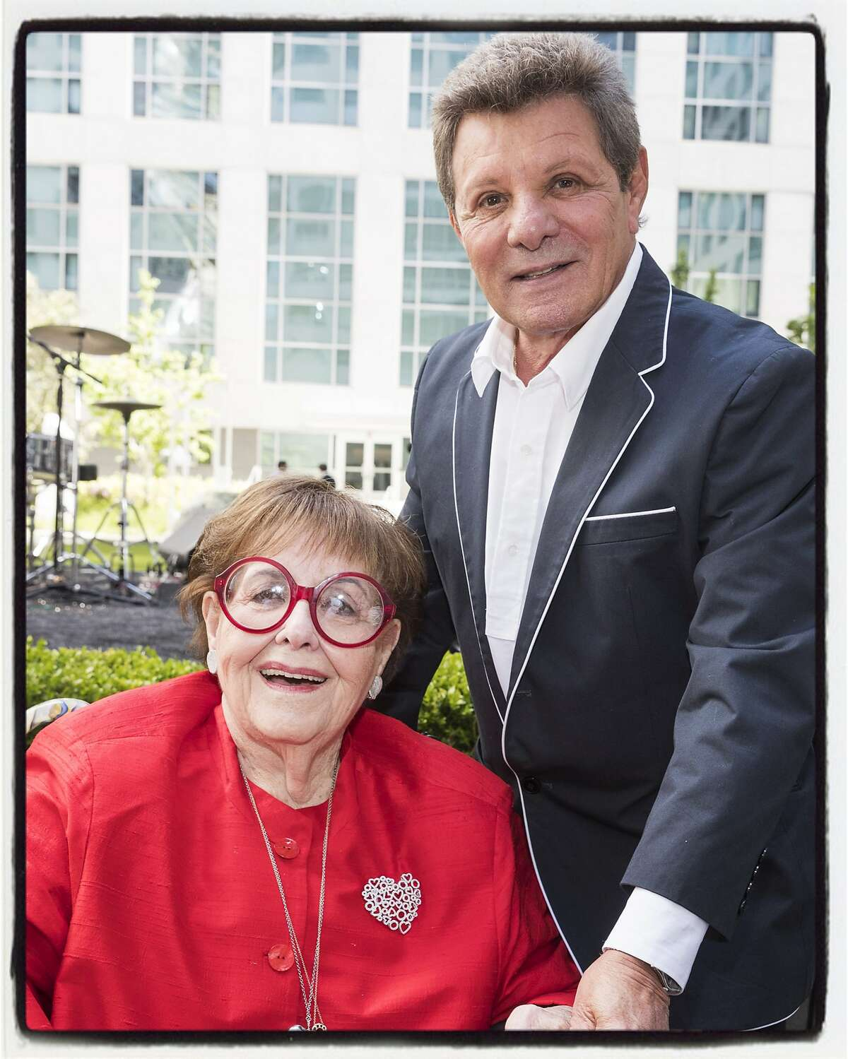 Yvonne Sangiacomo and singer Frankie Avalon at the Piazza Angelo grand opening at Trinity Place. May 18, 2017.