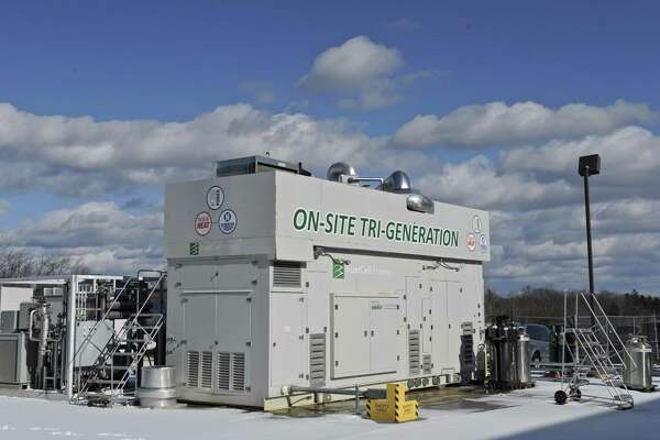 A Tri-Generation fuel cell used  at the FuelCell Energy manufacturing plant in Torrington, Conn. Wednesday, February 1, 2017. The unit, which uses one fuel cell stack, provides electricity, heat and hydrogen.
