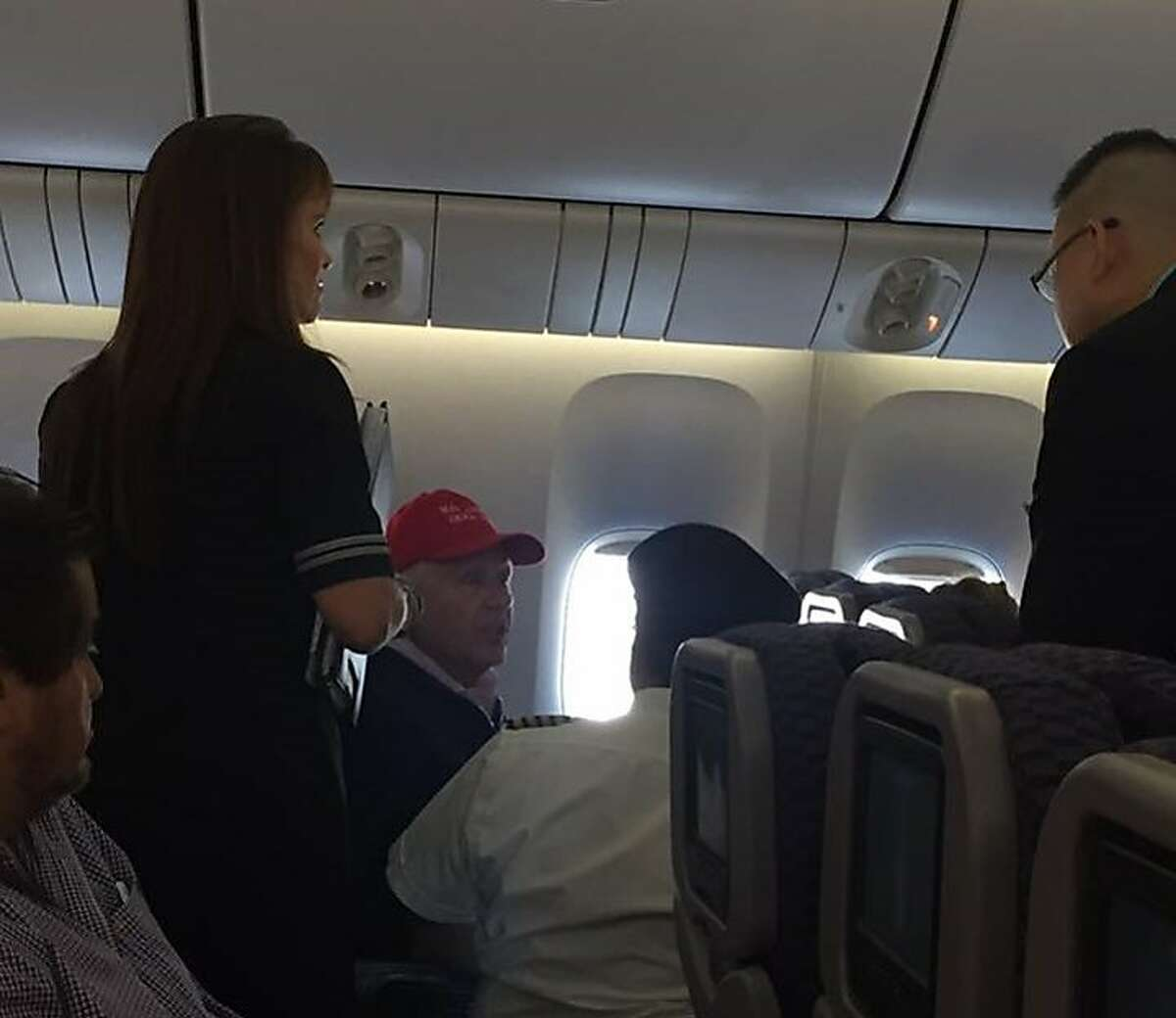 A man wearing a Make America Great Again hat caused a disruption on a United Airlines flight from Shanghai to Newark, forcing the plane to land at San Francisco International Airport. Photo credit:Clark Gredoña