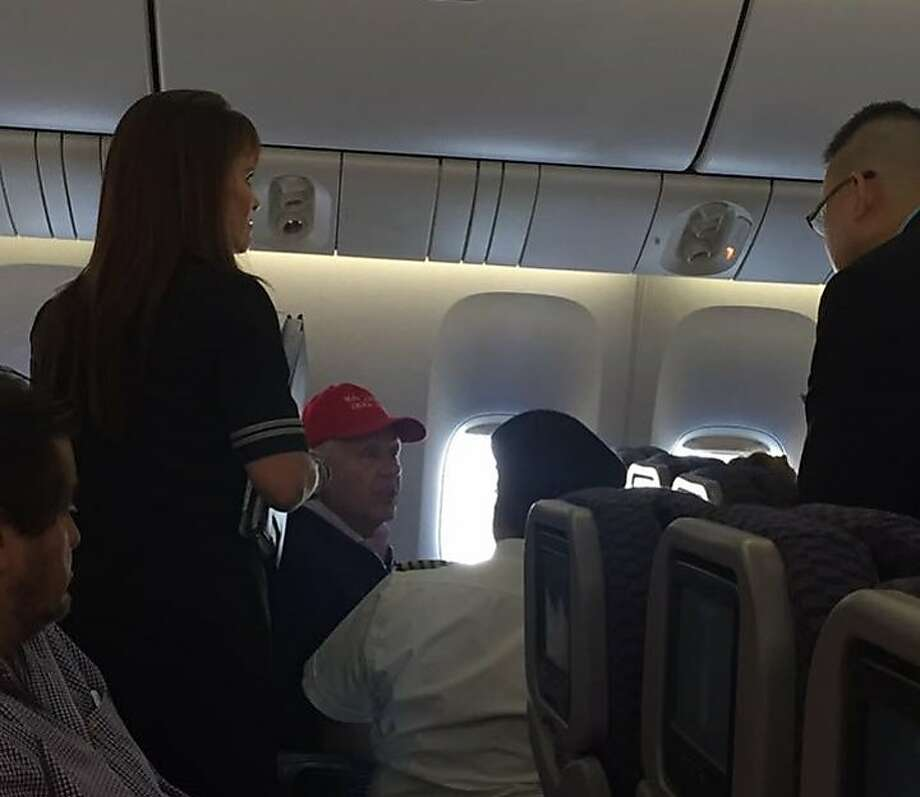 A man wearing a Make America Great Again hat caused a disruption on a United Airlines flight from Shanghai to Newark, forcing the plane to land at San Francisco International Airport. Photo credit: Clark Gredoña Photo: Clark Gredoña