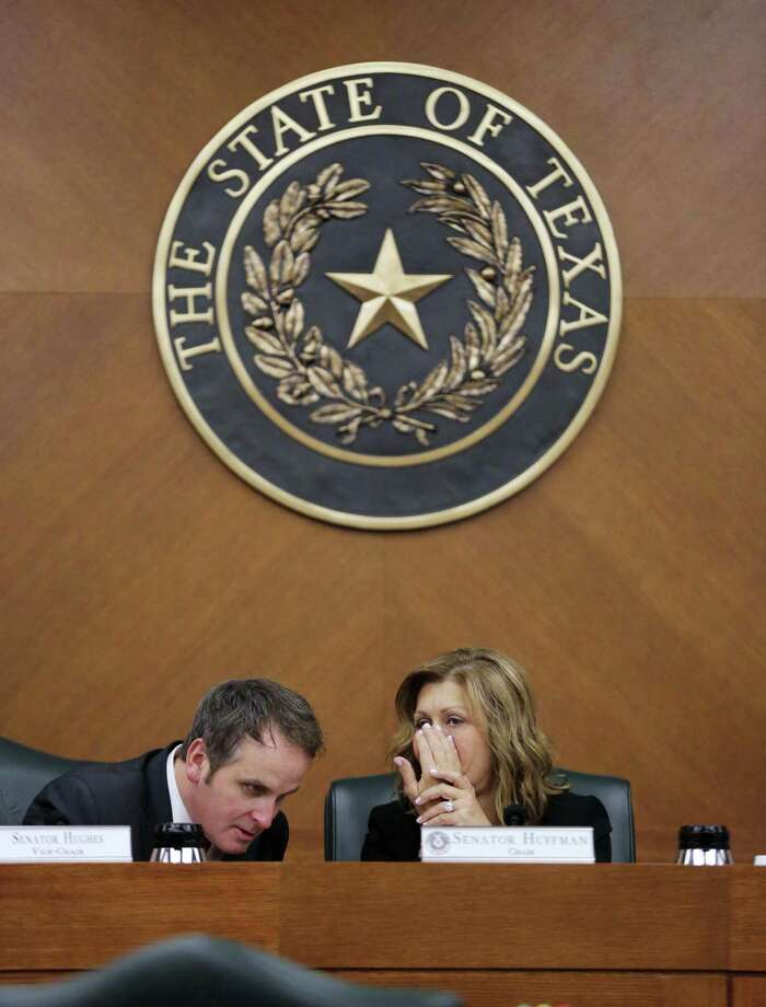 """Texas Sen. Bryan Hughes, R-Mineola, seen with Sen. Joan Huffman, on March 7, 2017, in Austin, sponsored the """"second chance"""" bill in the Senate. Photo: Eric Gay /AP / Stratford Booster Club"""