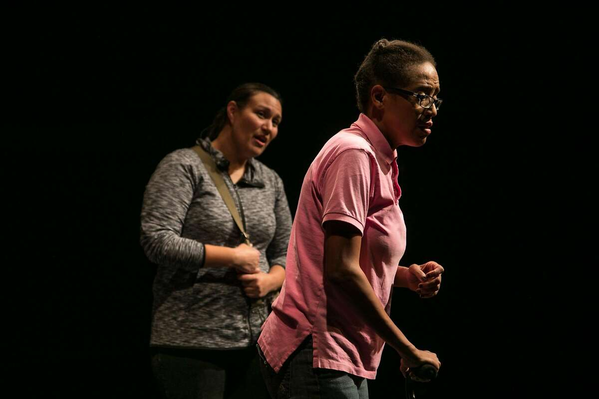 """From left:�A scientist (Akemi Okamura) comes to the home of Deborah (Desiree Rogers) in TheatreFirst's """"HeLa."""""""