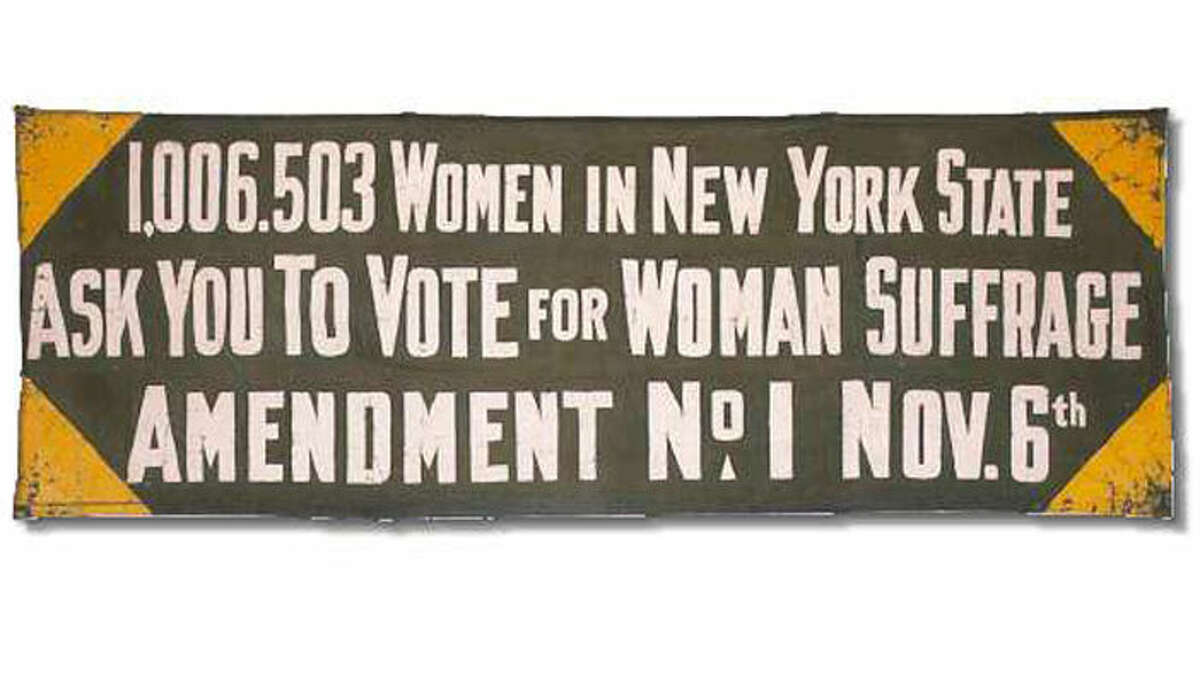 A 1917 banner carried by Suffragists, on exhibit through May 31 in the East Gallery on the second floor of the Capitol as a part of the ?New York State Women?s Suffrage 1917 ? 2017 | The Fight for the Vote and the March for Full Equality? exhibit.