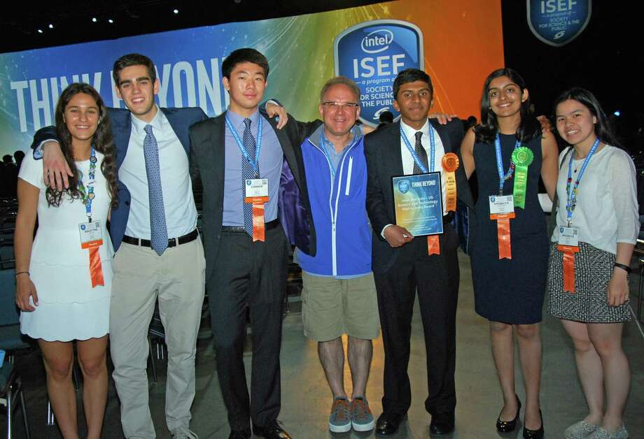 Seven Greenwich High School students traveled to Los Angeles last week after qualifying for the Intel International Science and Engineering Fair. Three students claimed top prizes. L to R: Senior Agustina Stefani, junior Luca Barceló, senior Connor Li, GHS teacher Andy Bramante, sophomore Rahul Subramanian, junior Shobhita Sundaram and junior Michelle Xiong. Photo: Contributed