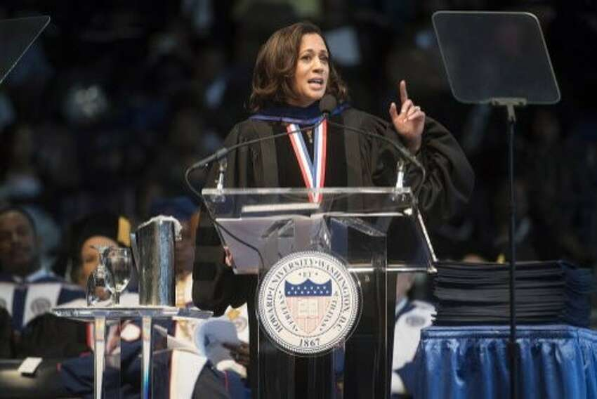 Harris' political career started at Howard University Kamala Harrisbegan her career in politics at Howard University when she was elected to the student council as a freshman class representative. Shegraduated from Howard, where she majored in political science and economics, in 1986. On May 13, 2017, she returned to her alma mater to serve as the graduation commencement speaker. She is seen in this file photo giving her address. Harris told graduates: